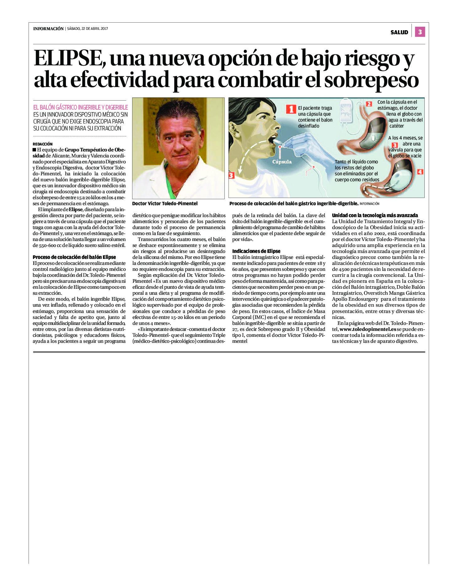 ELIPSE, una nueva opción de bajo riesgo y alta efectividad (publireportaje en Periódico INFORMACIÓN 22/4/17)